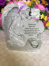 Large Angel Grave Ornament Candle Cemetery Plaque Memorial Stone Someone Special