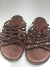 Cole Haan Resort Brown Leather Sandals Slides Shoes Womens 9 B Strappy Woven
