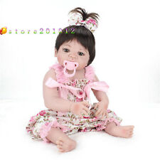 22''Handmade Reborn Newborn Baby Girl Doll Full Silicone Vinyl Bath Toy Lifelike