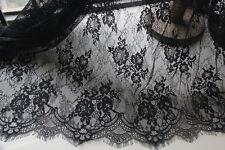 "Eyelash Lace Fabric Black Floral Vintage Embroidered DIY Dress 59"" Width 1 Yard"