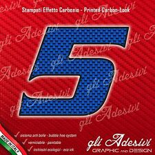 Adesivo Stickers NUMERO 5 moto auto cross gara Carbon Effect Blu 5 cm