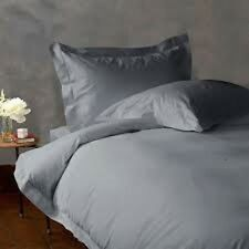 Duvet Set+Fitted Sheet King Silver/Light Gray Solid 1000 TC 100% Egyptian Cotton