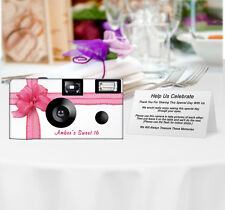 10 Beautiful Pink Ribbon Disposable Camera, Sweet 16, Quinceaña, Wedding Cameras
