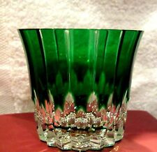 Vtg Ajka Castille Emerald Green Cut Clear Crystal Double Old Fashioned Glass #B