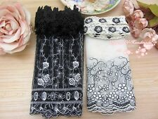 LOT~8Y~Assorted Embroidered Tulle Lace&Venise Lace Trim~White&Black~Group AJ~