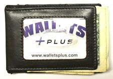 Magnetic Front Pocket Wallet  / Moneyclip - Black Leather - New