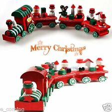 2016 Hot New 4Piece Wood Christmas Xmas Train for Ornament Decoration Decor Gift