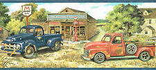 TRUE COUNTRY BLUE & RED PICK UP TRUCKS GENERAL STORE FARM Wallpaper bordeR Wall