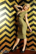 GIA WIGGLE DRESS SPARKLY GOLD Laura Byrnes/Pinup Couture/Pinup Girl Clothing XS