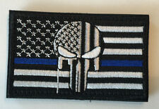Thin Blue Line DEVGRU AMERICAN SNIPER Punisher Skull Flag Embroid Velcro® PATCH