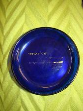 """Vintage """"SS FRANCE"""" OCEAN LINER COBALT BLUE/GOLD GLASS TRINKET PIN ASHTRAY DISH"""