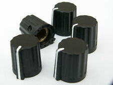 5 Small black ABS control pot knobs 14mm dia 15mm high brass insert and screw
