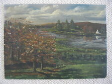 Vintage UNFRAMED Signed Original Pastoral Fall Autumn Landscape Painting