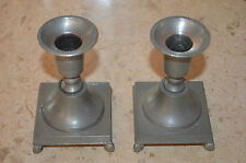 Pewter Pair of Marked Goutet Tenn Candle Holder's Square 4-1/4'' Tall with Feet