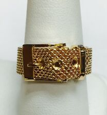 18K Gold Mesh Buckle Ring.  size 9 1/2.