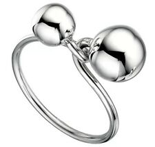 12mm/8mm SOLID 925 Sterling Silver Duo Twisted Sphere BALLS ring 5.36g Size 8.25