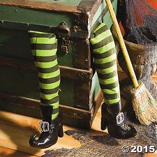 """Deluxe Plush Witch Legs Green and Black with Shoes (2 pcs. per set. 27"""". )"""