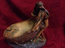 Art Nouveau Console Bowl Centerpiece Plaster Nude With Fishnet And Fish