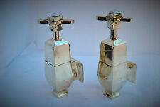BATH TAPS GLOBE TAPS DECO ANTIQUE OLD BRASS BATHROOM TAPS RECLAIMED & REFURBED