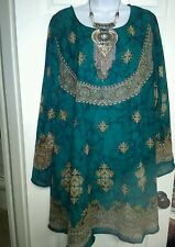 PLUS SIZE FREE SIZE A-LINE TUNIC TOP BLOUSE 1X 2X 3X TEAL GREEN