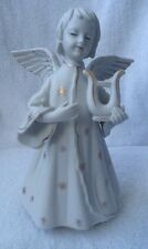 Schmid Porcelain Christmas Angel Harp Rotating Music Box Silent Night Vintage
