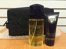 Vintage OPIUM YSL YVES SAINT LAURENT Men Set 3.4 3.3oz EDT + Shower Gel &Bag New