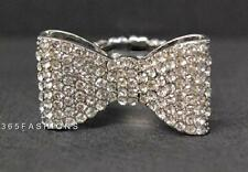 STATEMENT SPARKLE BLING FAUX DIAMANTE BOW RING STRETCH SILVER ONESIZE