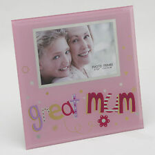 "GREAT MUM GORGEOUS  6"" x 4"" PHOTO GLASS PICTURE FRAME GIFT IDEA FOR MUMS"