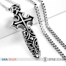 Men's Vintage Cross Sword Gothic Stainless Steel Pendant w Necklace Cool Punk P9