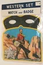 1960s JAPAN vintage COWBOY tin SHERIFF BADGE / TOY WATCH w/ MASK lone ranger MIB