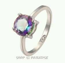 Womens Girls Jewelry 10KT White Gold Filled Silver Ring Rainbow Topaz Size 7