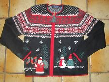 Karen Scott Petites Pretty Ugly Christmas Sweater Black Red Santa Snowman SZ PM