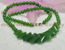 """Natural 6-20mm green emerald gemstone Round & Square Beads Necklaces 18"""""""