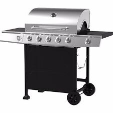 Outdoor Gas Grill 5 Burner Side Stainless Steel LP Propane BBQ Backyard Cooking