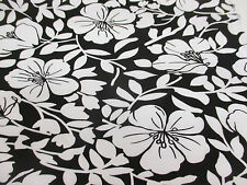 "4 Metres Black with White ""Blossom Petals"", Floral Cotton/Spandex Dress Fabric."