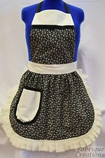 RETRO VINTAGE 50s STYLE FULL APRON / PINNY - BLACK & IVORY FLOWERS with IVORY TR