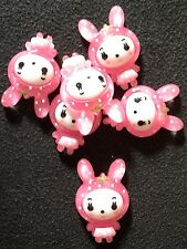 Resin Flatback Kawaii Pink Baby with Rabbit Ears 10 pk
