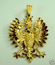 Brand New 14K Yellow Gold Polish Eagle Symbols Charm Pendant
