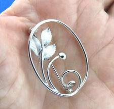 Sterling Silver Leaf Brooch Pin Signed CR Co