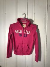 HOLLISTER WOMENS FULL ZIP JACKET WITH HOOD PINK LARGE LONG SLEEVE GRAPHIC