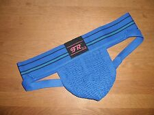 Mens X Large Traditional Wide Waistband Polyester Blue Sports Jockstrap Gay UK