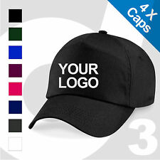 4X Personalised Embroidered / Printed Baseball Cap Customised Workwear Text/Logo