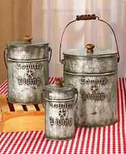 Country Kitchen Canisters Sets Rustic Home Decor Galvanized Steel Storage 3 PCS