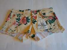 NWT VANILLA STAR  Junior  Denim Floral Print Shorts with Lace on Bottom   s 9