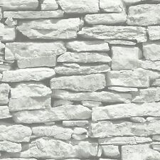 Moroccan Wall White Stone Brick Wallpaper by VIP Arthouse 623009