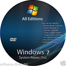 Windows 7 Starter  64/32 bit BOOT DVD Install Repair Restore- Driver Disc!