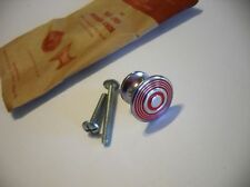 VTG NOS 1940s CHROME KNOBS RED rings lines Drawer Cabinet Door Pulls ART DECO