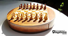 "Wooden Magnetic Drawer Chess Set 9"" Round Sheesham/White Wood"