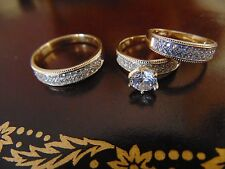 Engagement Wedding 3 piece 14K Yellow Gold Man Made Diamond ring for him and her