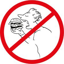 """Ban Stop Sign No Food Car Bumper Sticker Decal 5"""" x 5"""""""